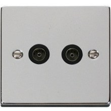 Click VPCH066BK Twin Coaxial Socket Outlet