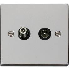 Click VPCH157BK 1 Gang Satellite & Isolated Coaxial Socket Outlet
