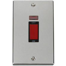 Click VPCH203BK 2 Gang 45A DP Switch With Neon