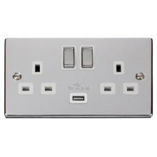 Click VPCH570WH 13A 2 Gang Switched Socket with USB