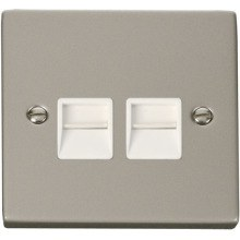 Click VPPN121WH Twin Telephone Socket Outlet Master