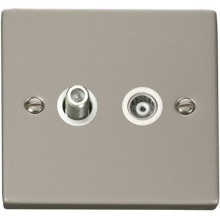 Click VPPN157WH 1 Gang Satellite & Isolated Coaxial Socket Outlet