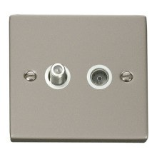 Click VPPN170WH 1 Gang Satellite & Coaxial Socket Outlet