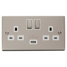 Click VPPN570WH 13A 2 Gang Switched Pearl Nickel Socket with USB