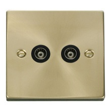 Click VPSB159BK Twin Isolated Coaxial Socket Outlet