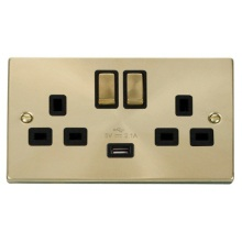 Click VPSB570BK 13A 2 Gang Switched Satin Brass Socket with USB