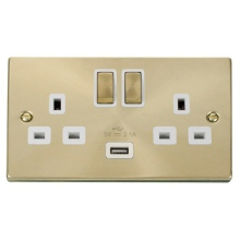 Click VPSB570WH 13A 2 Gang Switched Satin Brass Socket with USB