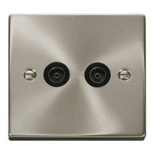 Click VPSC066BK Twin Coaxial Socket Outlet