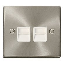 Click VPSC121WH Twin Telephone Socket Outlet Master