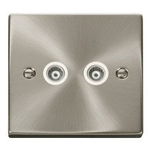 Click VPSC159WH Twin Isolated Coaxial Socket Outlet