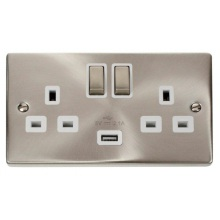 Click VPSC570WH Victorian Satin Chrome 13A 2G Ingot Switched Socket With 2.1A USB Outlet