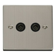 Click VPSS066BK Twin Coaxial Socket Outlet
