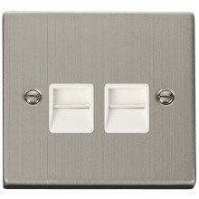 Click VPSS126WH Twin Telephone Socket Outlet Secondary