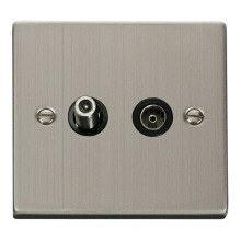 Click VPSS170BK 1 Gang Satellite & Coaxial Socket Outlet