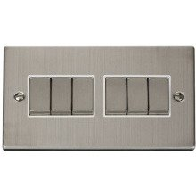 Click VPSS416WH 6 Gang 2 Way 'Ingot' 10AX Switch
