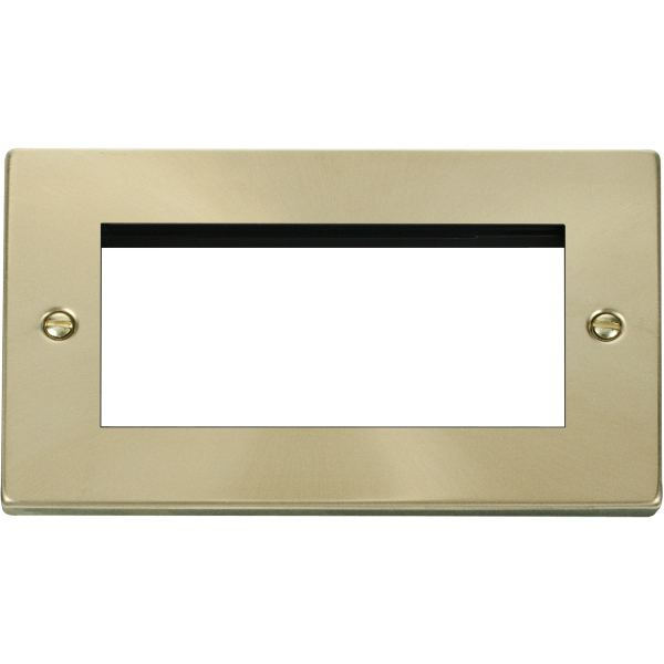 Double Plate (Quad Media Module Aperture) Unfurnished-Satin Brass
