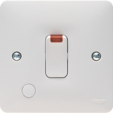 Hager WMDP84FON 20A Double Pole Switch With LED Indicator & Flex Outlet