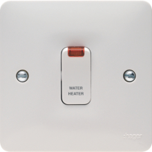 "Hager WMDP85N 20A Double Pole Switch With LED Indicator Marked ""Water Heater"""