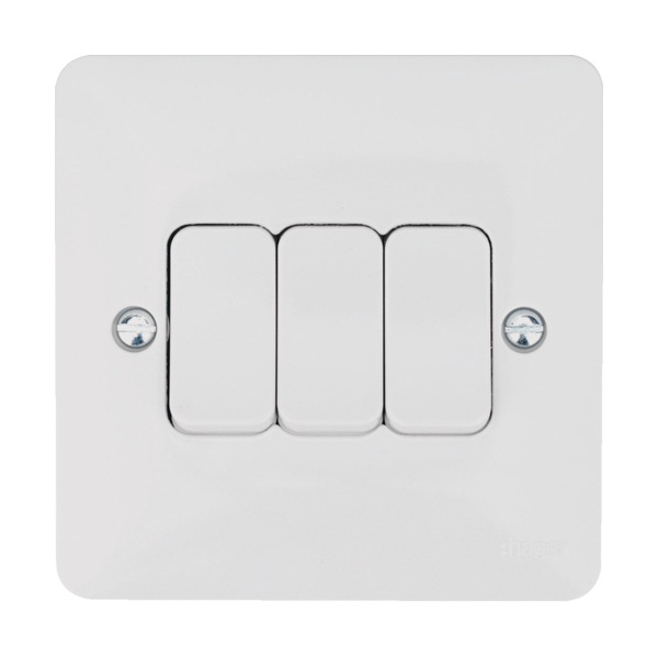 Hager WMPS32 10AX 3 Gang 2 Way Wall Switch | Electricbase on