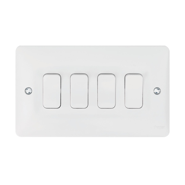 Hager WMPS42 10AX 4 Gang 2 Way Wall Switch | Electricbase