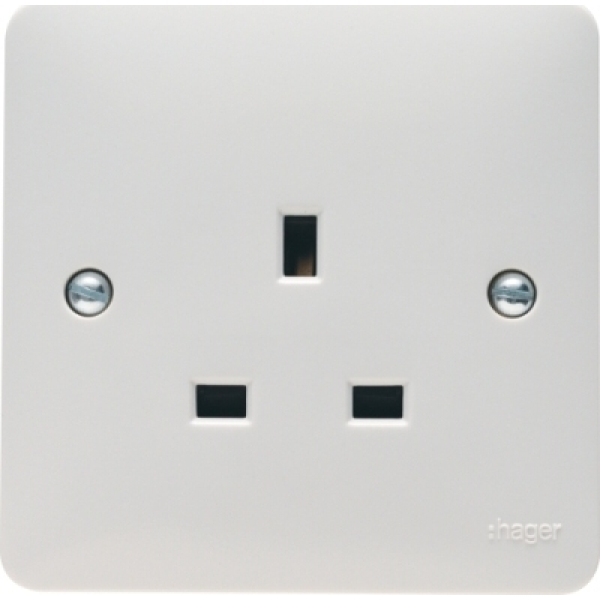 Hager WMS81 13A 1 Gang Double Pole Unswitched Socket