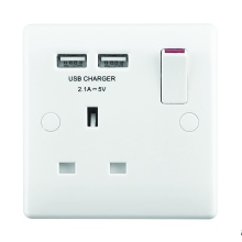 Nexus 821U 1 Gang 13 Amp Switched Socket with 2 USB Ports