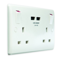 Nexus 822U-01 13A 2 Gang Switched Socket With 2 x USB
