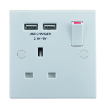 Nexus 921U 1 Gang 13 Amp Switched Socket with 2 USB Ports