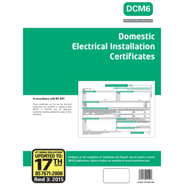 NICEIC 5588 GR Certificate-DEIC17/3 | Electricbase