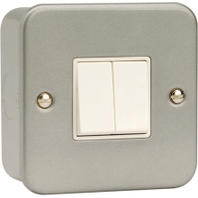 Scolmore Click Metalclad 10Amp 2 Gang 2 Way Switch.