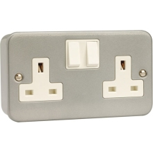 Scolmore Click Metalclad 13Amp DP Twin Switched Socket.