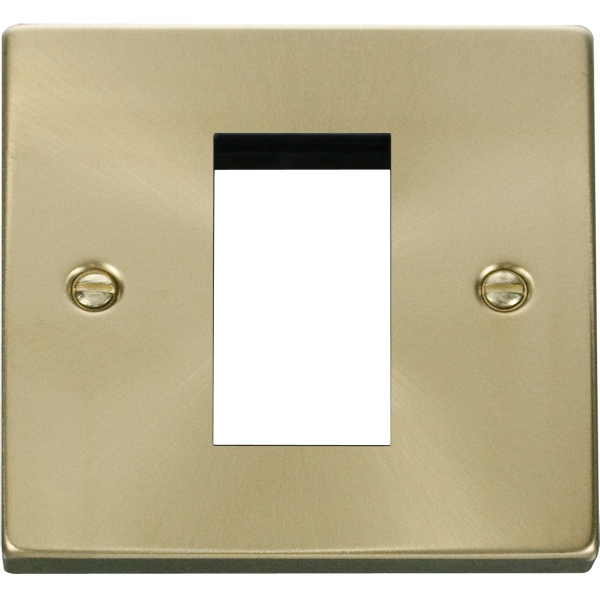 Single Plate (Single Media Module Aperture) Unfurnished-Satin Brass