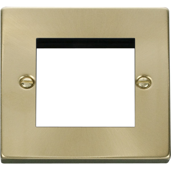 Single Plate (Twin Media Module Aperture) Unfurnished-Satin Brass