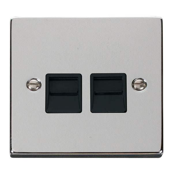 Click VPCH126BK Twin Telephone Socket Outlet Secondary