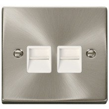 Twin Telephone Socket Outlet Secondary - Satin Chrome