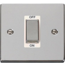 "VPCH500** Click Scolmore Deco 45 Amp DP 1 Gang ""Ingot"" Switch Polished Chrome"