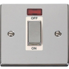 "VPCH501** Click Scolmore Deco 45 Amp DP 1 Gang ""Ingot"" Switch Polished Chrome c/w Neon Indicator"