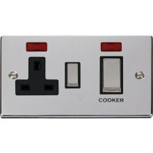 "VPCH505** Click Scolmore Deco 45 Amp DP 2 Gang ""Ingot"" Switch & Socket c/w Neon Indicator Polished Chrome"