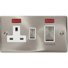 "VPSC505** Click Scolmore Deco 45 Amp DP 2 Gang ""Ingot"" Switch & Socket Satin Chrome c/w Neon"