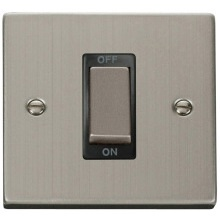 "VPSS500** Click Scolmore Deco 45 Amp DP 1 Gang ""Ingot"" Switch Stainless Steel"