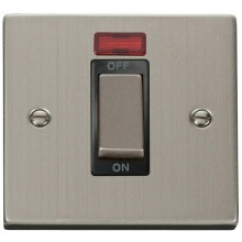 "VPSS501** Click Scolmore Deco 45 Amp DP 1 Gang ""Ingot"" Switch Stainless Steel c/w Neon Indicator"